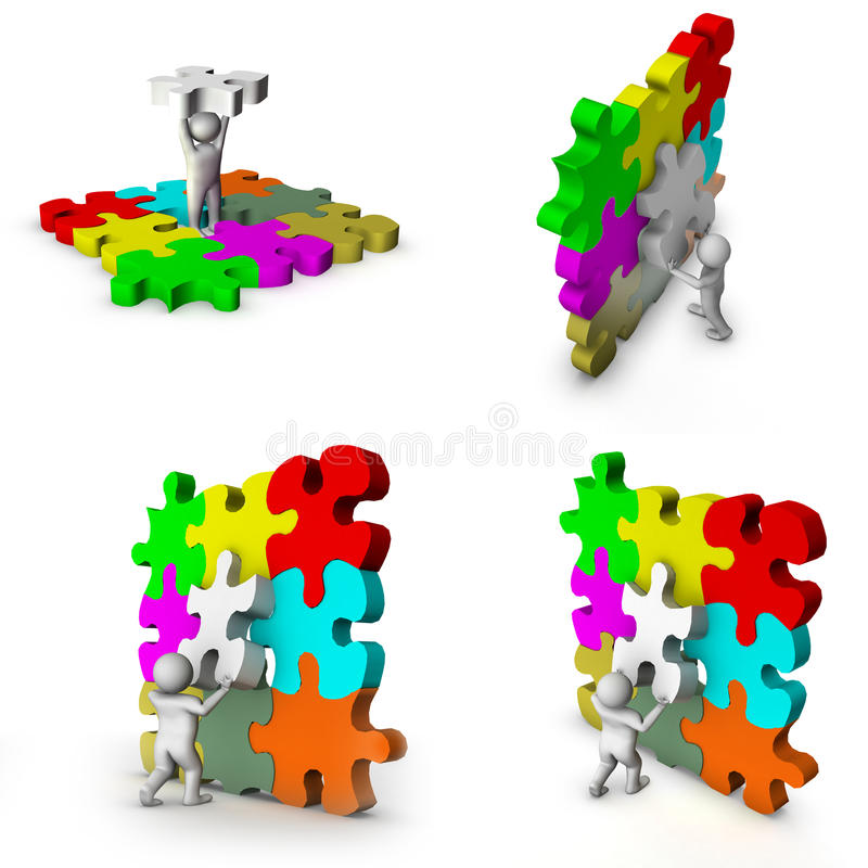 3d Man With Puzzle Game Royalty Free Stock Images
