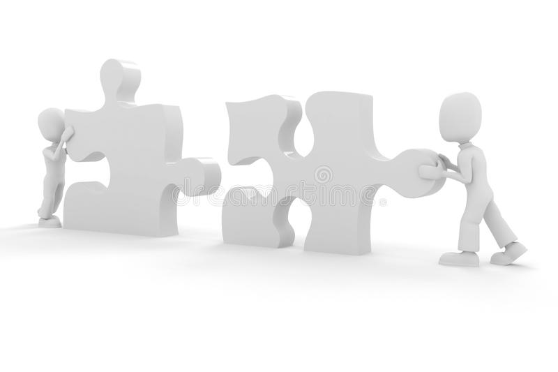3d Man And Puzzle Piece Stock Images