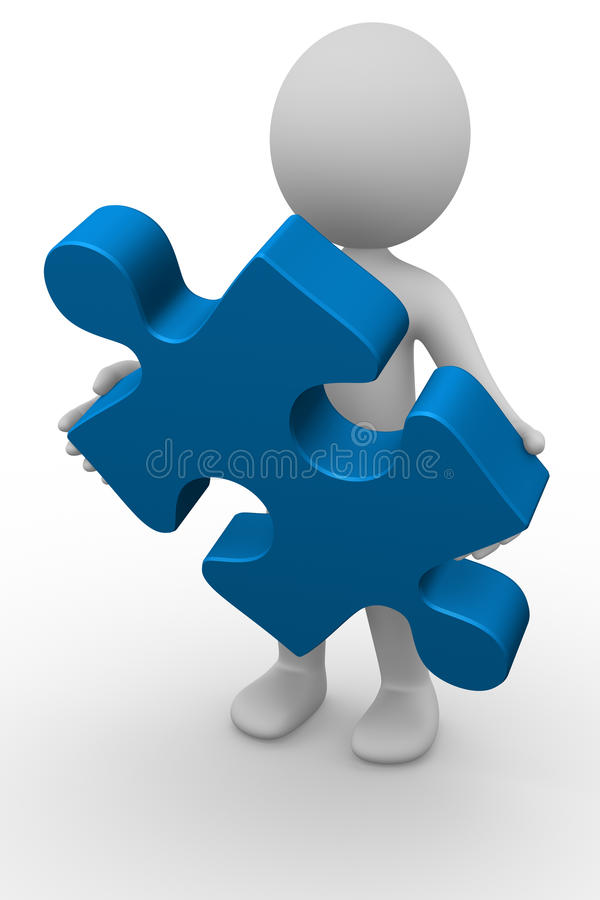 3D Man With A Puzzle Piece Royalty Free Stock Image