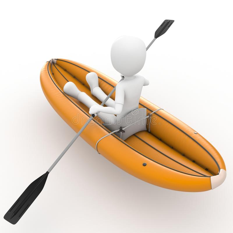 Download 3d Man Rafting With  Kayak Stock Images - Image: 19064034
