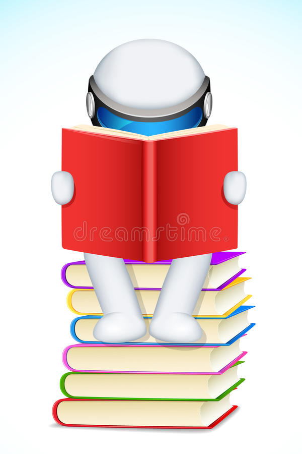 Download 3d Man Reading Book stock vector. Image of knowledge - 25015623