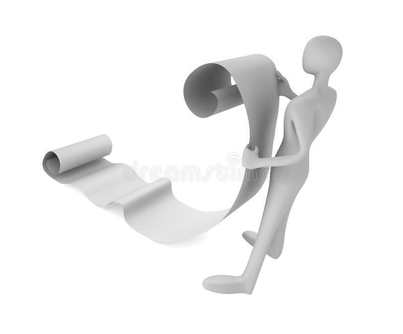 Download 3d Man Reading A Paper Scroll Stock Image - Image: 26475991