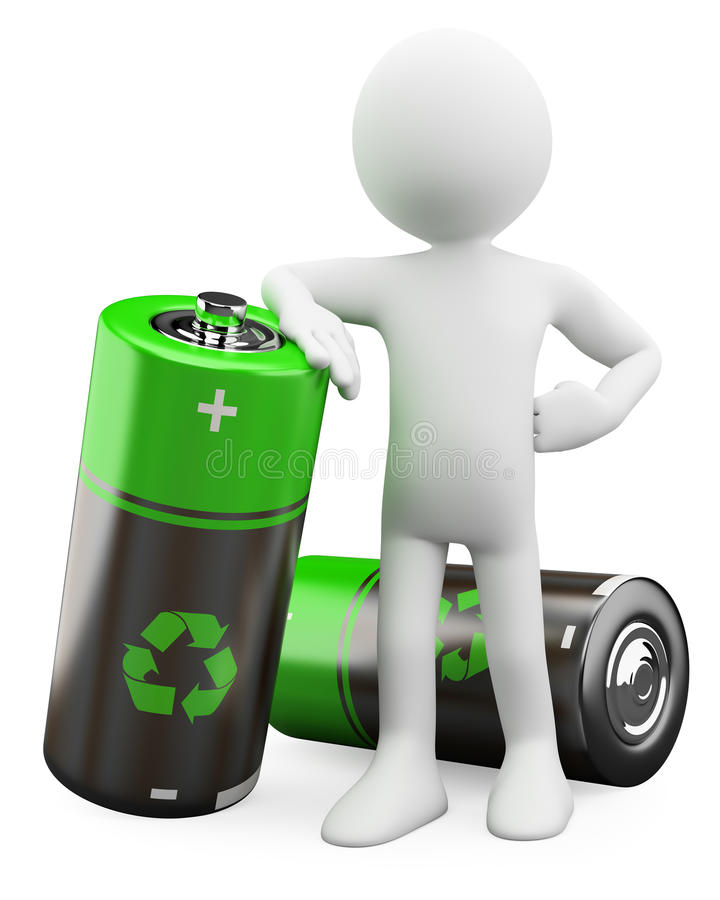3D Man - Recyclable batteries royalty free illustration