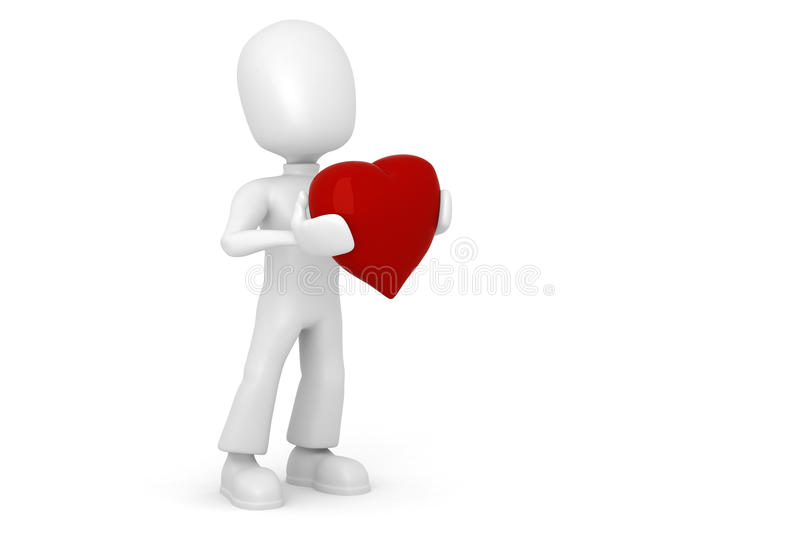 3d Man With A Red Heart In Hes Hands Royalty Free Stock Photos