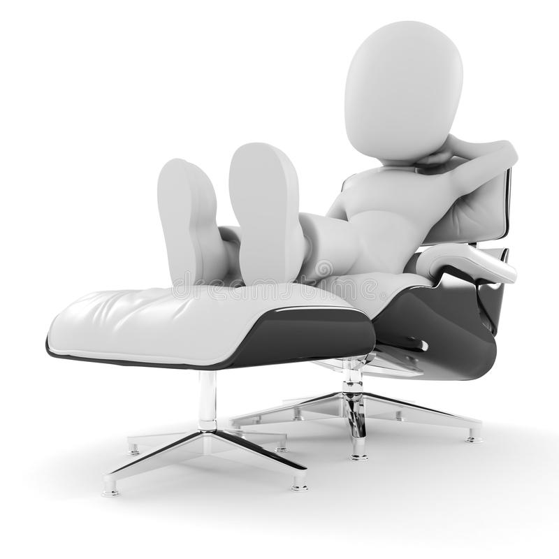 Download 3d Man, Relaxing On White Arm-chair Stock Illustration - Image: 14251177