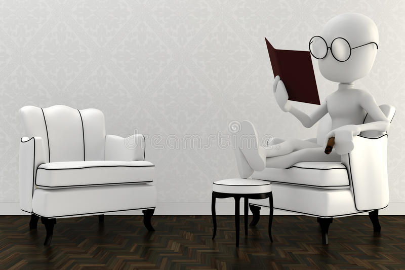 3d man resting in a chair and reading a book stock illustration