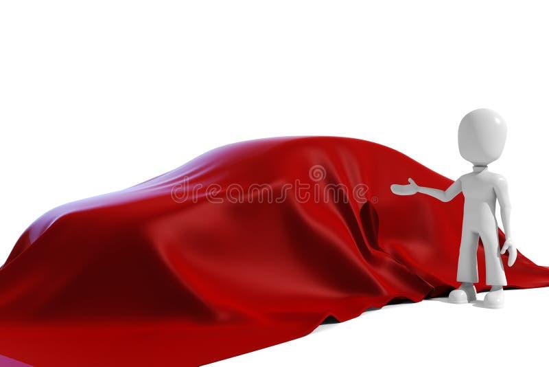 3d man revealing a new car stock illustration
