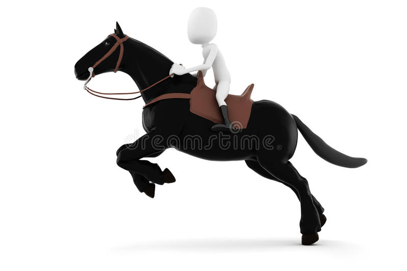 3d man riding a horse on white background. 3d man riding a horse stock illustration