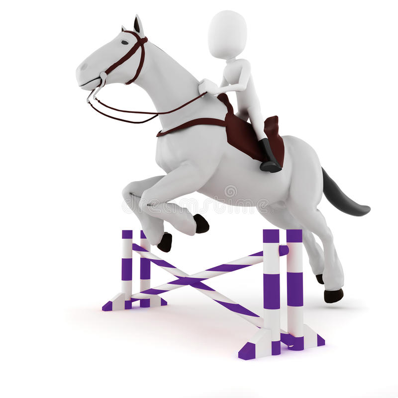 Download 3d Man Riding A Horse On White Background Stock Illustration - Illustration: 26612619