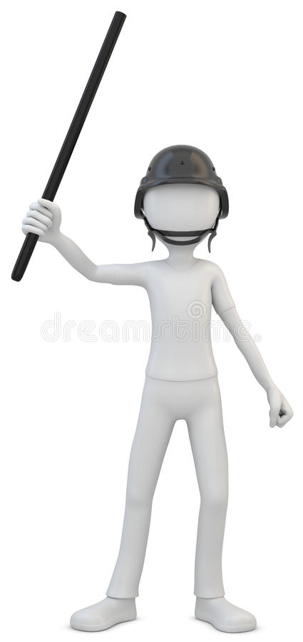 3d man riot police with baton. On white background vector illustration