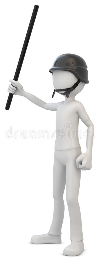 3d man riot police with baton. On white background royalty free illustration