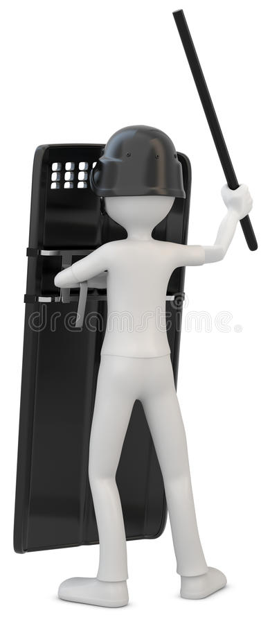 3d man riot police with shield. On white background stock illustration