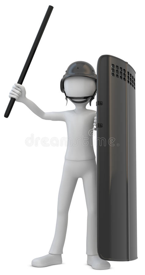 3d man riot police with shield. On white background royalty free illustration