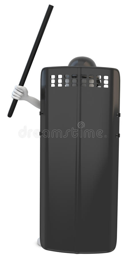 3d man riot police with shield. On white background vector illustration