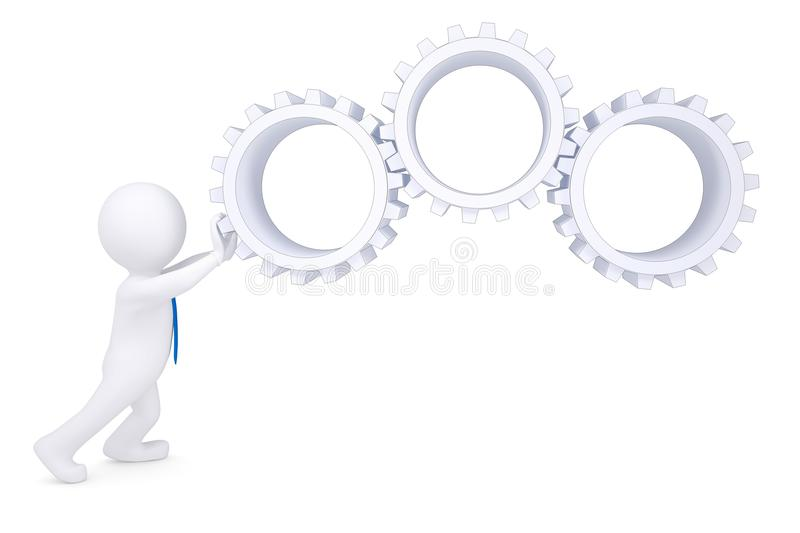 Download 3d man rotate the gears stock illustration. Image of people - 28282638