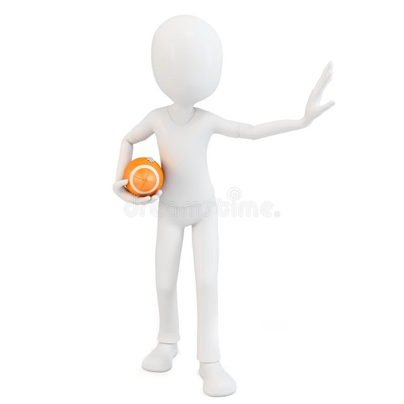 3d man with rugby ball
