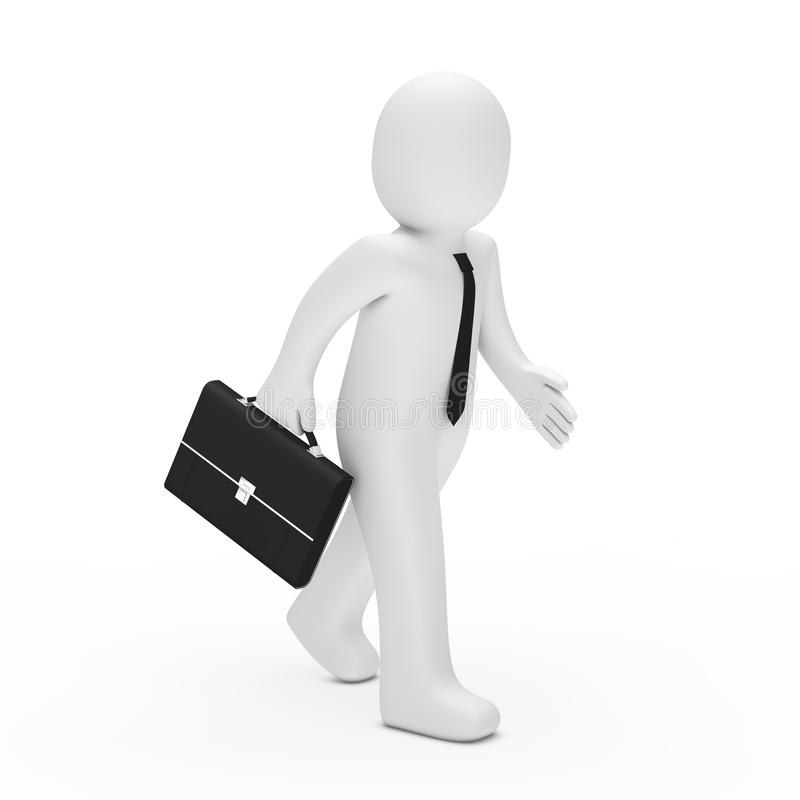 3d man run. 3d man with tie and briefcase run royalty free illustration