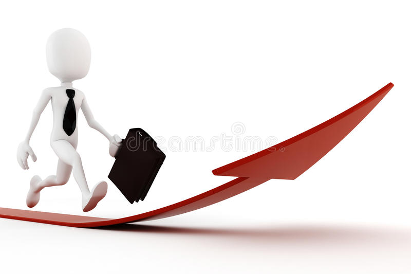 3d man running on an arrow, pointing up royalty free illustration