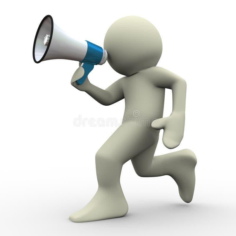 Download 3d Man Running With Megaphone Stock Illustration - Image: 23920486