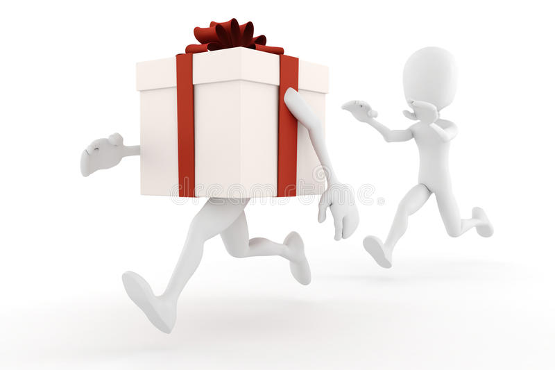 3d man running to catch a present box vector illustration