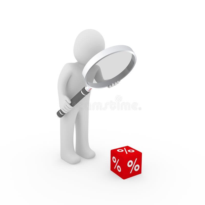 3d man sale cube loupe percent royalty free illustration