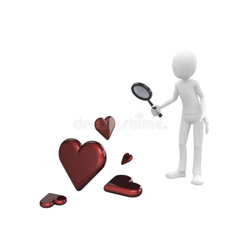 3d man searching for love. With magnifying glass vector illustration