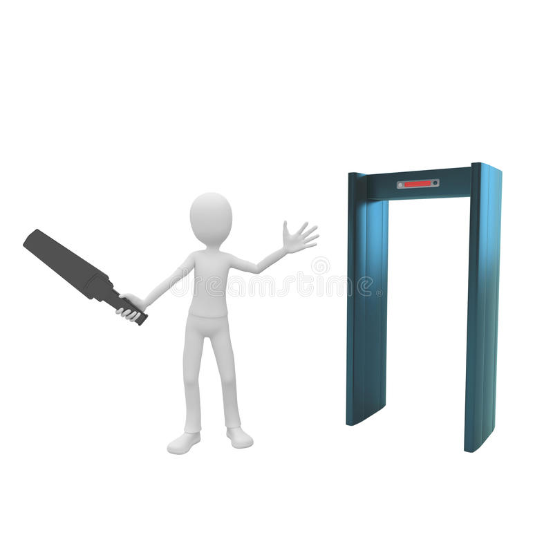 3d man security with scanner stock illustration