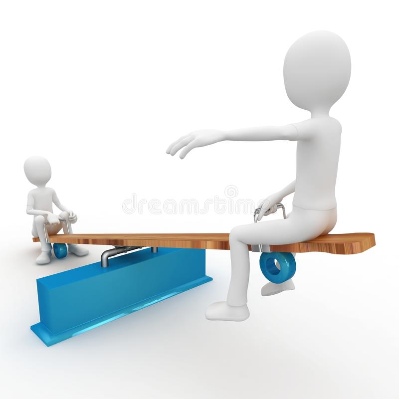 Download 3d Man With Seesaw Royalty Free Stock Image - Image: 16378506