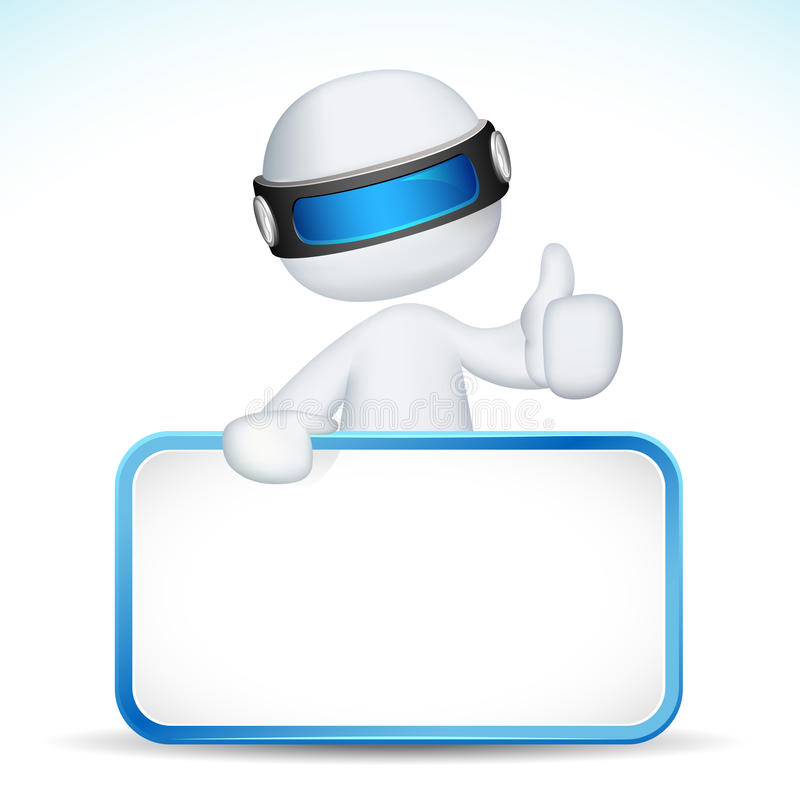 3d man showing Ok sign with placard royalty free illustration