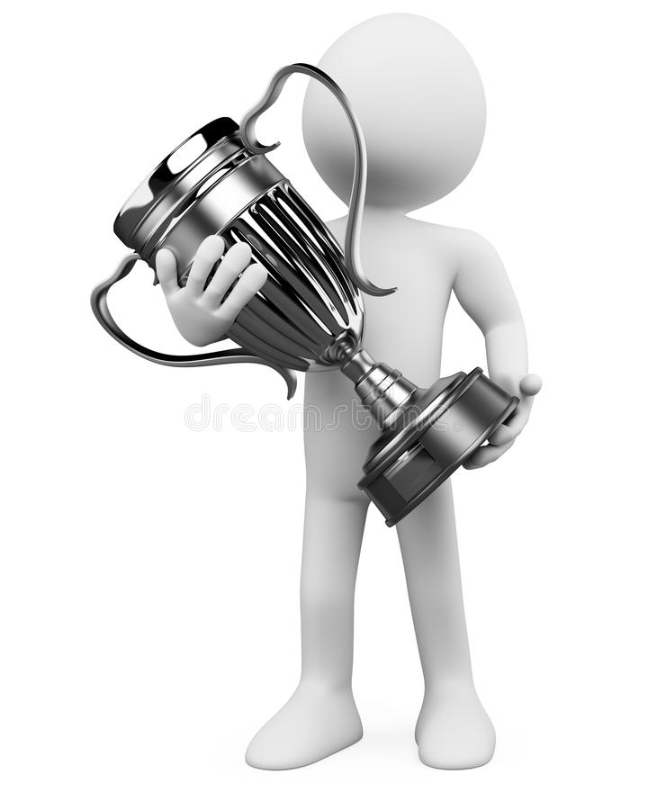 3D Man With A Silver Trophy In The Hands Royalty Free Stock Photo