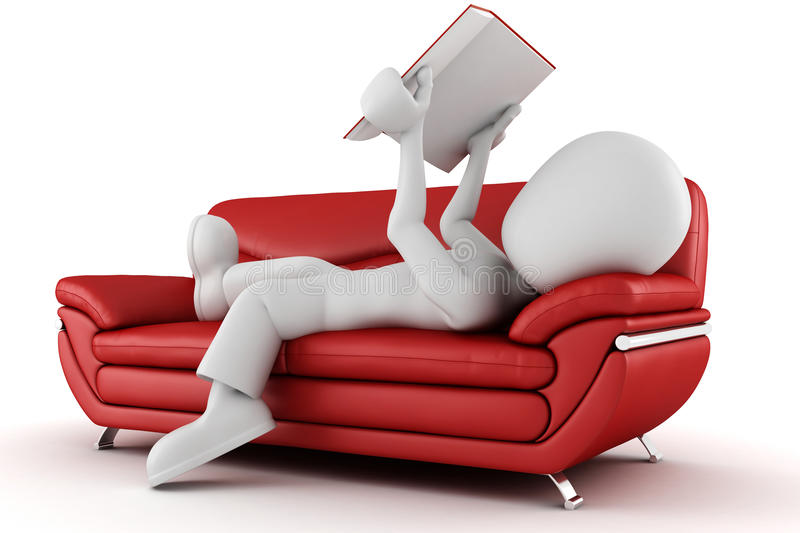 3d man sitting on a couch, reading a book vector illustration