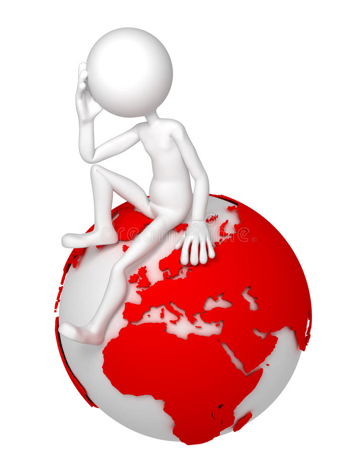 Download 3d Man Sitting On Earth Globe In A Thoughtful Pose Stock Illustration - Image: 21228217