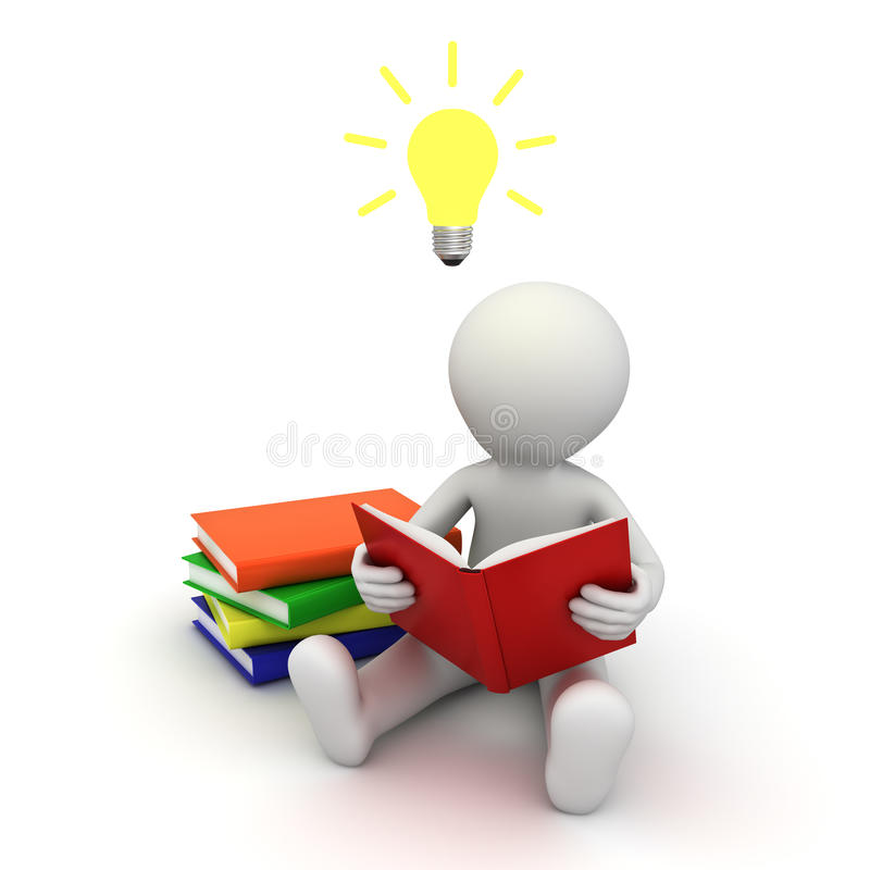 Download 3d Man Sitting On The Floor And Reading A Book With Idea Bulb Above His Head Stock Illustration - Image: 28738324