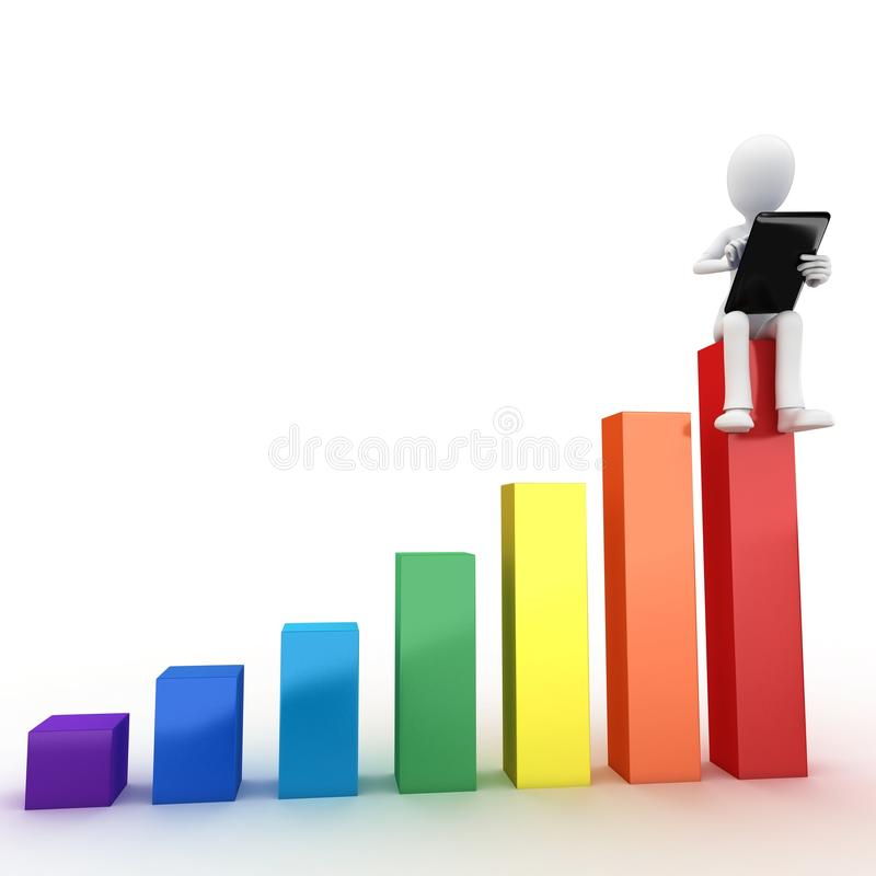 3d Man Sitting On Graph Bar With Tablet Royalty Free Stock Photography