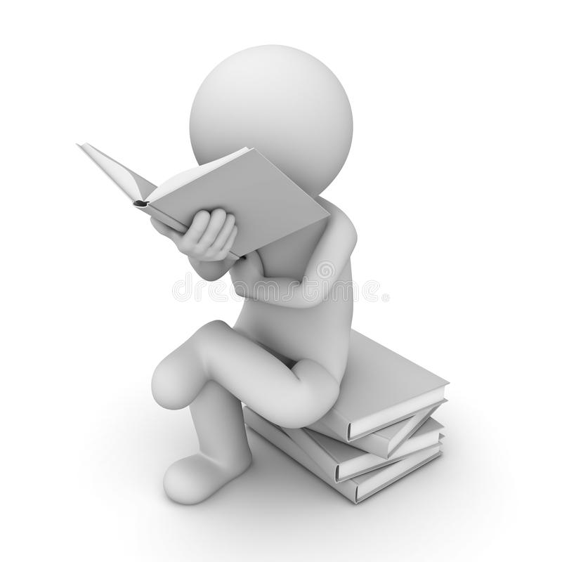 Download 3d Man Sitting On A Pile Of Books And Reading Book Stock Illustration - Image: 28738304