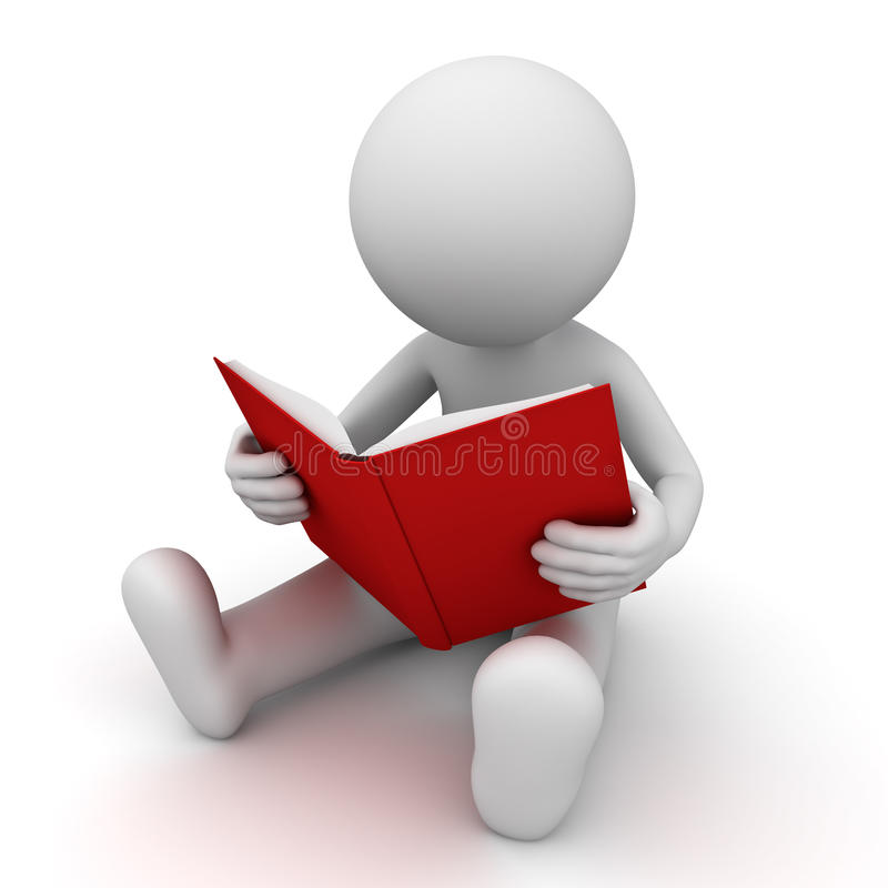 3d man sitting and reading a red book