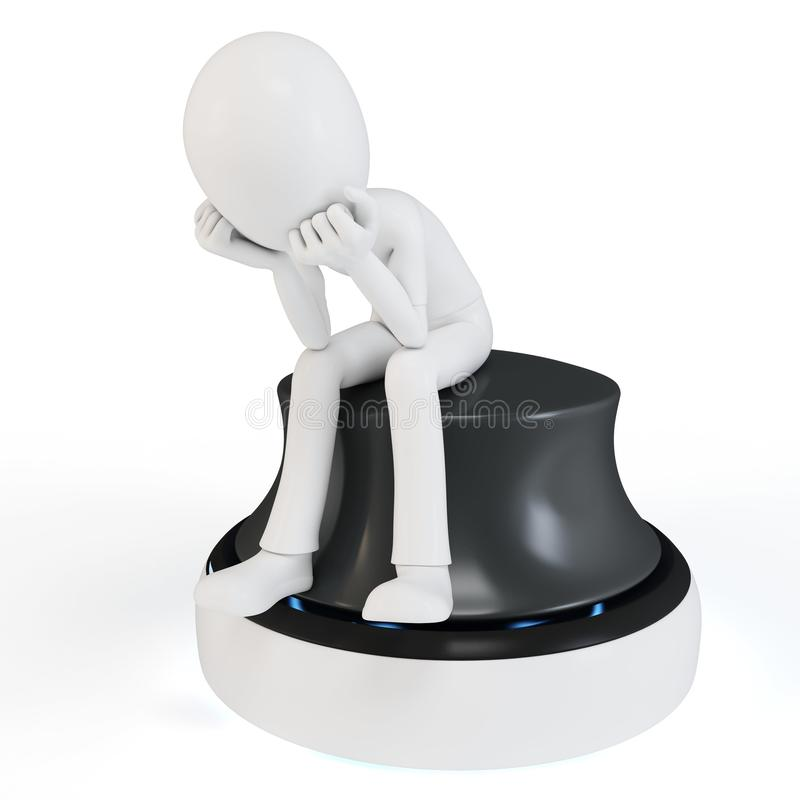 Download 3d Man Sitting In A Thoughtful Thinker Pose Royalty Free Stock Photos - Image: 21651618