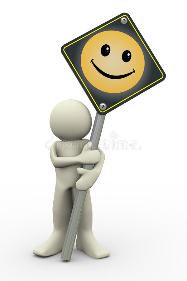 3d man with smile sign board