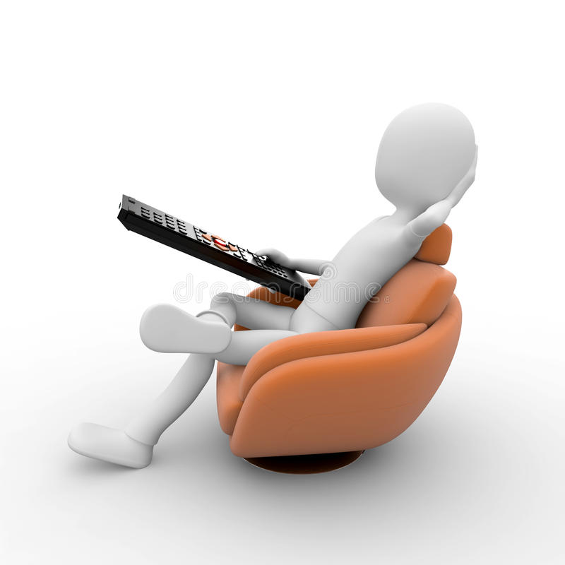 3d man with sofa and remote vector illustration