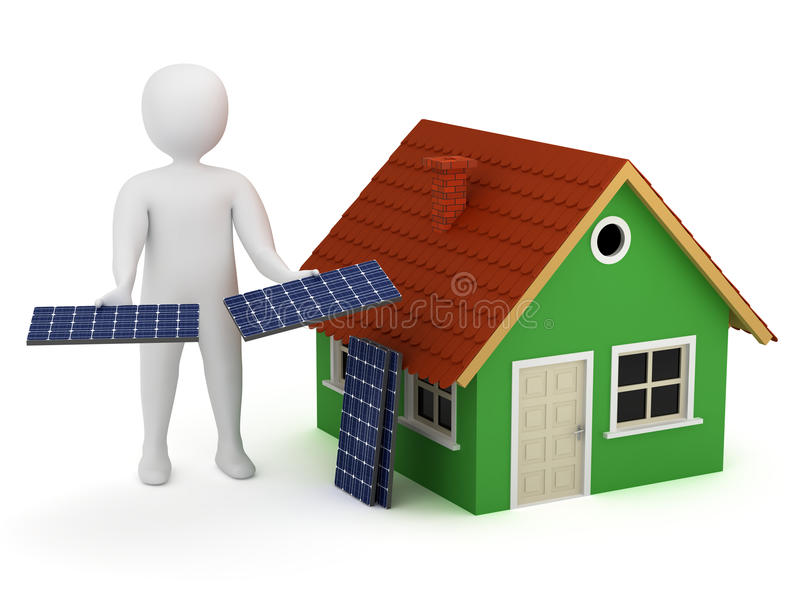 Download 3d man with solar panels stock illustration. Illustration of energy - 19514716