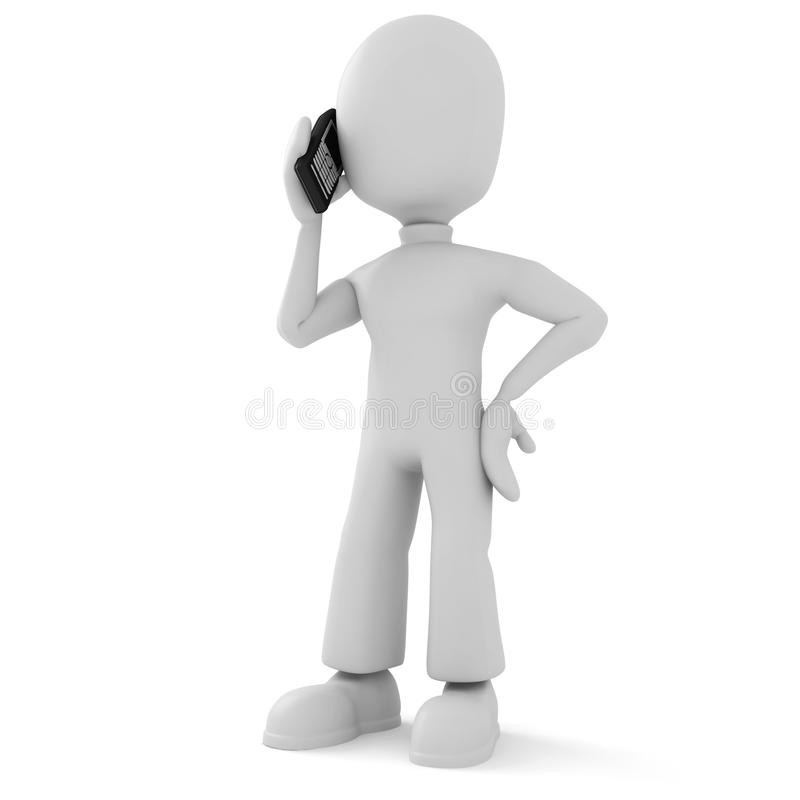 3d man, speaking on the phone royalty free illustration
