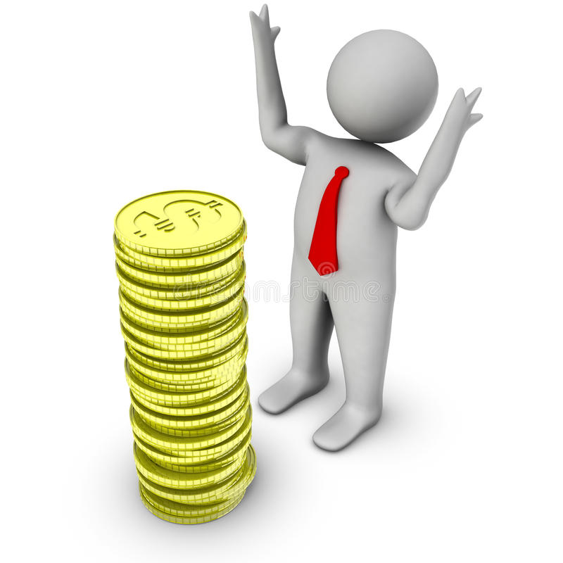 3d man with stack of dollar coins royalty free stock photos