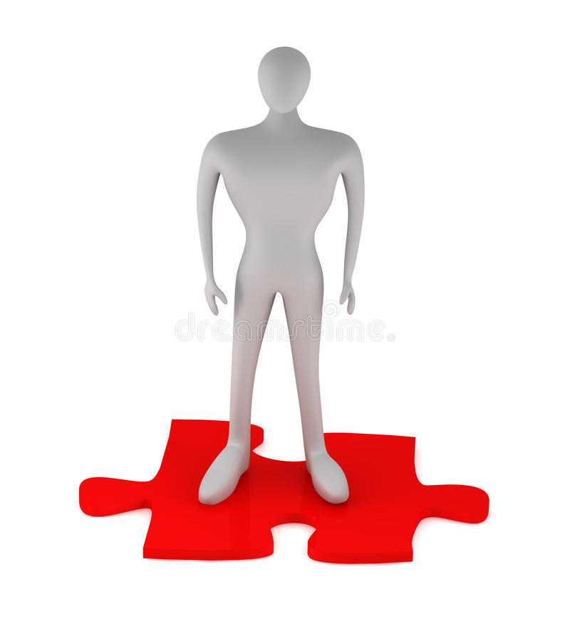 3d Man standing on the puzzle