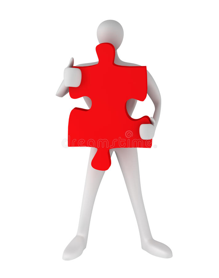 Download 3d Man Standing With Puzzle Stock Illustration - Image: 25638714