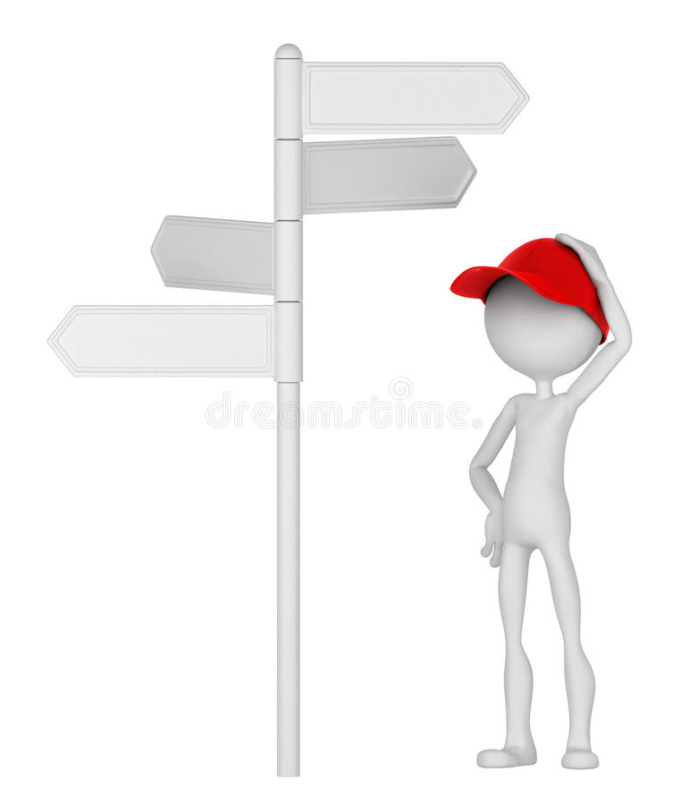 3d Man standing under signpost. In a thoughtful pose. Isolated on white background royalty free illustration