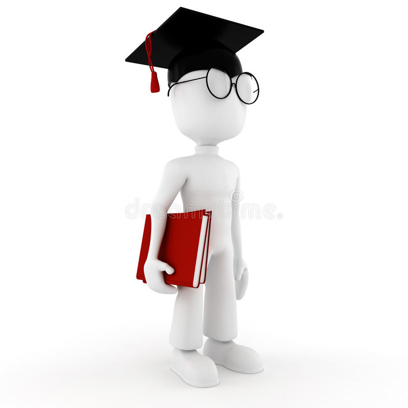 3d man student holding two books vector illustration