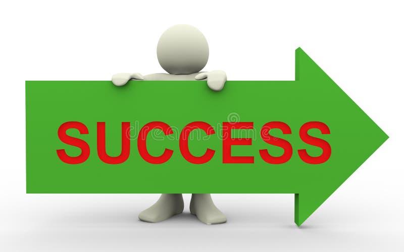 3d man with success arrow stock illustration