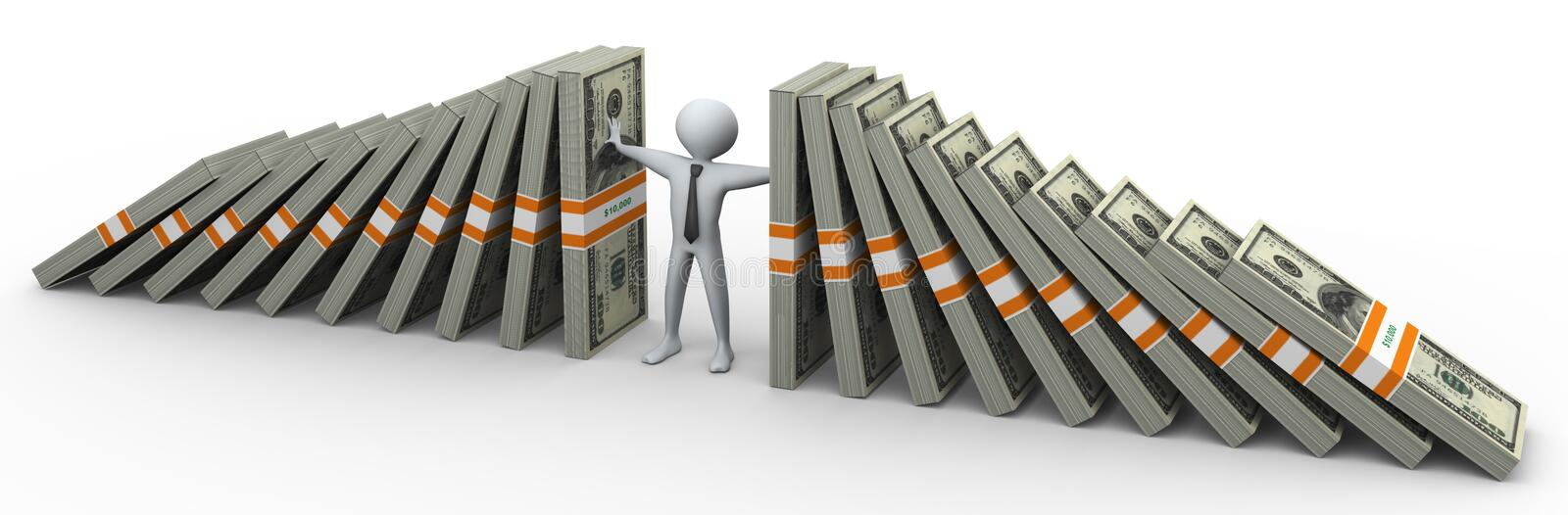 Download 3d man supporting dollar stock illustration. Image of crisis - 20393108