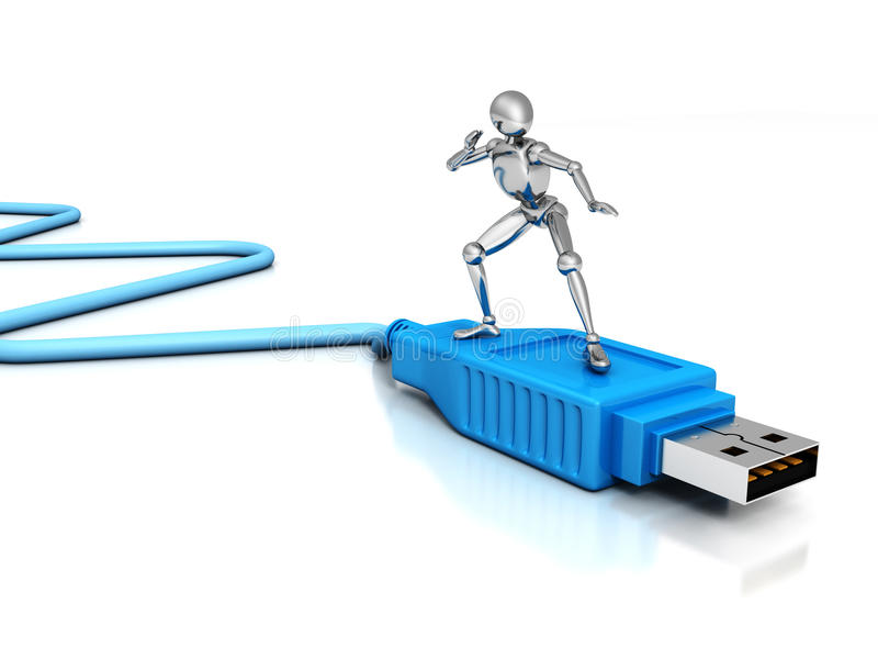 3d man surfing on usb connection cable. Metallic 3d man surfing on blue usb connection cable 3d stock illustration