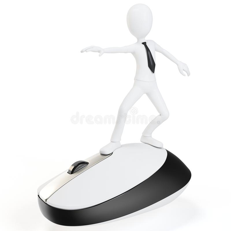 3d man surfing the web on a mouse. 3d man surfing the web on white background stock illustration